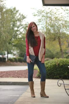 Taupe Fuzzy Vest | MARY & MAK