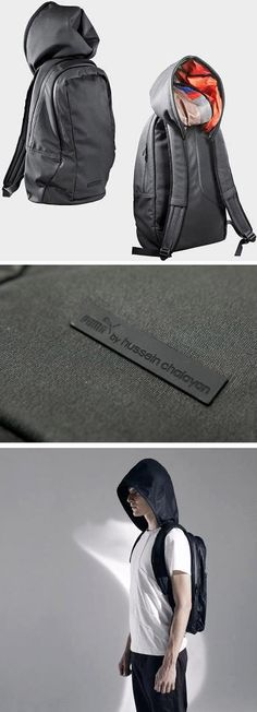 backpacks, fashion, backpack hoodi, bag creativ, hussein chalayan, hoodi backpack, hiking, bags, pumas