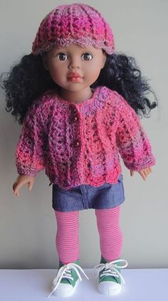 "Sausalito Shell Stitch Crochet  18"" Doll Sweater & Hat - http://www.straw.com/crystalpalaceyarns/patterns/regpatts4/yarnsN-S/sausa-CrchtDollSet.html"