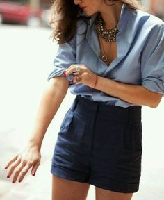 101 Fashion Tips and Tricks Every Girl Should Know. Plus this would be a cute outfit if it were a casual chambray shirt Look Fashion, Fashion Beauty, Womens Fashion, Fashion 2015, Runway Fashion, Looks Style, Style Me, 101 Fashion Tips, Fashion Ideas