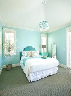 Beautiful Turquoise Room Decoration Ideas for Inspiration Modern Interior Design and Decor. more search: turquoise room ideas teenage, turquoise bedroom ideas, turquoise living room ideas, turquoise room decorating ideas. House Of Turquoise, Living Room Turquoise, Bedroom Turquoise, Turquoise Bedroom Walls, Light Turquoise, Turquoise Furniture, Light Blue, Home Decor Ideas, Home Decor