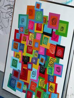 Group art projects, collaborative art projects, kandinsky, elements of art, Group Art Projects, Collaborative Art Projects, School Art Projects, Art School, Kindergarten Art Lessons, Art Lessons Elementary, Classe D'art, Art Du Collage, Ecole Art