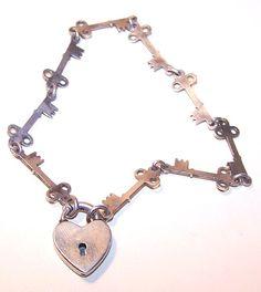 Keys bracelet with a heart lock