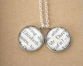 Pride and Prejudice book page necklace, Mr Darcy and Elizabeth silver plated charm necklace