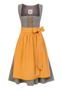 Cleanes, traditionelles Leinen Dirndl im Uni Look in der gedeckten Farbkombi Greymelange/ Senf.  JAN&INA Trachten München. Das Designer Dirndl Label. Designer, Summer Dresses, Shopping, Fashion, Mustard, Traditional, Dirndl, Linen Fabric, Colors