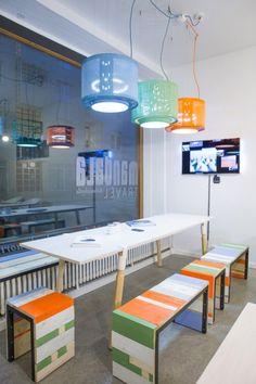 Mindful office design by Willem Heeffer (washing machine drum lights)