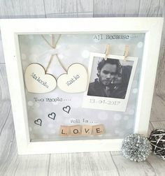 All because two people fell in love This handmade personalised scrabble art frame would make the perfect gift for your loved one.  A beautiful keepsake to celebrate valentines, anniversarys, birthdays or just because!  Made using scrabble letters and painted wooden hearts that are ready to be personalised with yours and your loved ones names.  Different coloured backgrounds are available so please ask.  This design includes space for you to attach your own treasured photograph easily to the…