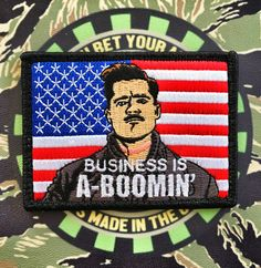 """'NEW COLOR' INGLORIOUS BASTARDS """"BUSINESS IS A-BOOMIN"""" BRAD PITT MILITARY MORALE PATCH - 3 COLOR OPTIONS"""