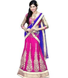 Buy Striking Magenta Colored Embroidered Net Lehenga Choli lehenga-choli online
