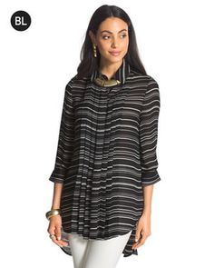 Black Label Striped Pleated Top