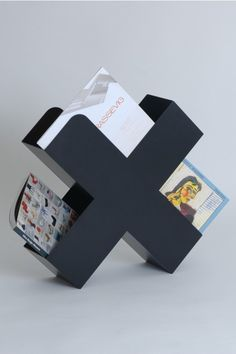 X / book + magazine holder / black The Minimalist - The Minimalist Store / Bukan / Simple + stylish magazine holder in black Deco Furniture, Metal Furniture, Home Decor Furniture, Cool Furniture, Furniture Design, Creative Words, Creative Design, Tole Pliée, Sheet Metal Work