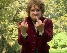 And the final glorious finger shot. | The 21 Most Glorious Photos Of Bilbo Baggins Giving The Finger the hobbit on set