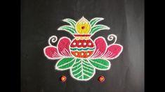 Simple Lotus Flower Rangoli Design with Beautiful Colours & Dots For Varamahalakshmi Festival Simple Rangoli Designs Images, Rangoli Designs Flower, Rangoli Ideas, Rangoli Designs With Dots, Rangoli Designs Diwali, Diwali Rangoli, Flower Rangoli, Rangoli With Dots, Arabic Mehndi Designs