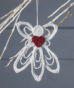 Delicate Angel Ornament Pattern ~ easy level ~ measures x ~ love the look of this sweet angel - would look great on the tree - that pop of red just finishes it off ~ PURCHASED pattern - CROCHET Crochet Christmas Ornaments, Christmas Crochet Patterns, Holiday Crochet, Crochet Snowflakes, Christmas Angels, Christmas Crafts, Christmas Bells, Thread Crochet, Diy Crochet