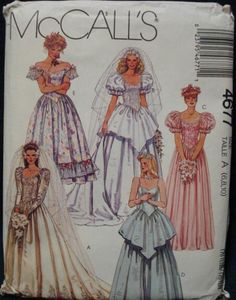 Womens Princess Wedding Gowns and Bridesmaids Gown and Dress McCalls Sewing Pattern 4677 Size 10 12 14 Bust 32 to 36 - 1990 McCalls Sewing Pattern 4677 Womens Princess Bridal Gowns and Bridesmaids Gown and Dress Size 1 - Bridal Dresses, Wedding Gowns, Princess Bridal, Wedding Dress Patterns, Gown Pattern, Mccalls Sewing Patterns, Retro, Photos, Vintage Patterns