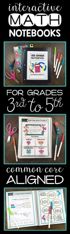 Interactive Notebooks for Math. For grades 3rd, 4th, and 5th. Common Core aligned.