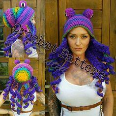 Updated Crochet Octopus Hat Aka Twisted Kraken PATTERN (pls read description before buying) Cute Crochet, Knit Crochet, Crochet Hats, Crochet Stitches, Crochet Patterns, Caron One Pound Yarn, Crochet Costumes, Crochet Octopus, I Love This Yarn