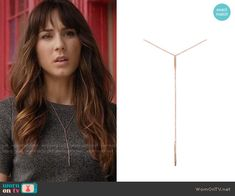 Spencer's lariat necklace on Pretty Little Liars. Outfit Details: https://wornontv.net/56440/ #PLL