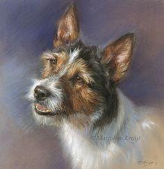 Jack Russell terrier, pastel portret in opdracht, Marjolein Kruijt