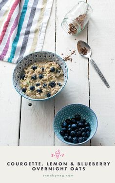 This zucchini or courgette overnight oats recipe with lemon and blueberries is a delicious and healthy summer breakfast. A great way to eat more vegetables.
