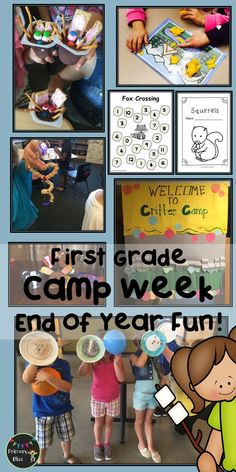 What a way to end your year in first grade!  Learning and FUN all in one!  This end of year camp unit has a week's worth of reading, writing, math, activities, crafts, and snack ideas.  Your last week of school is all planned out for you, and you and your kiddos will have a BLAST celebrating end of the school year.