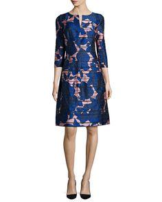 Metallic Rose-Print 3/4-Sleeve Dress, Soft Pink by Oscar de la Renta at Neiman Marcus.
