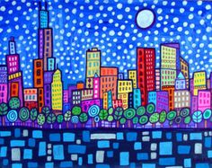 SALE ENDING - Chicago Art Panel Print Hardboard Ready To Hang of Heather Galler  - Cityscape Modern Abstract Folk Art