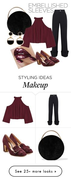 """""""Big burgundy sleeves."""" by marylia on Polyvore featuring Jacquemus, Eddie Borgo, Rupert Sanderson, W118 by Walter Baker and Warehouse"""