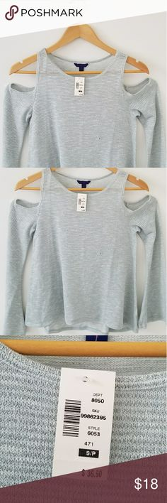 Aeropostale Shinny silver and light blue shirt NWT Aeropostale off the shoulder sleeve pull over shirt. Aeropostale Tops Blouses