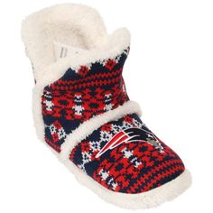Women's New England Patriots Aztec Sherpa Boot Slippers
