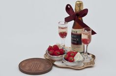 dollhouse miniature food strawberrys and wine