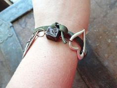 Two Hearts wrap around leather bracelet by TheFoxesTail on Etsy