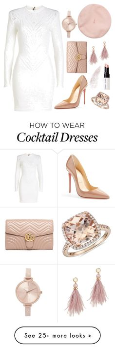 """Untitled #433"" by pinkypenguin04 on Polyvore featuring Balmain, Gucci, Christian Louboutin, Lizzie Fortunato, Michael Kors, Blue Nile and Bobbi Brown Cosmetics"