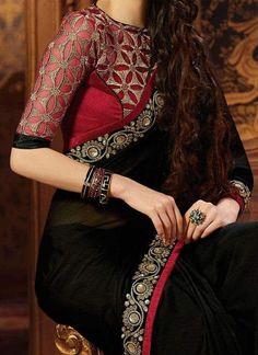 Evergreen and trendy saree blouse back designs - Simple Craft Ideas Saree Blouse Neck Designs, Fancy Blouse Designs, Bridal Blouse Designs, Trendy Sarees, Stylish Sarees, Fancy Sarees, Party Wear Sarees Online, Chiffon Saree, Red Chiffon