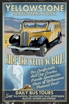 Yellow Bus - Yellowstone National Park - Vintage Sign - Lantern Press Poster
