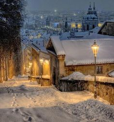 Winter in Prague looks so beautiful! What's your favorite city to explore in the snow? Photo by (via Matador reader Thanks. Winter Szenen, Winter Magic, Winter Night, Winter Time, Winter Christmas, Winter Road, Cold Night, Christmas Carol, Christmas Tree