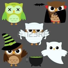 Set di gufi vector carino in costumi di Halloween photo