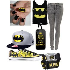 batman by scene-girl-foreva on Polyvore featuring polyvore, fashion, style, Topshop, Converse and New Era