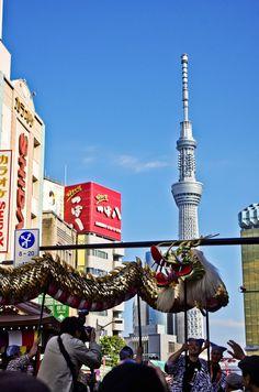 Golden Dragons over the City, Symbol of the Sensoji Temple in Tokyo Asakusa, Japan|浅草寺の祭り