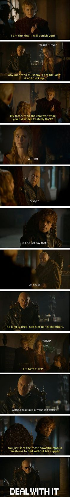 I hate Tywin because he is the reason Jaime Tyrion and Cersei are so messed up, But.... I do really love the man too..