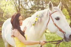 Snow White Engagement  |  sublett studios The horse is gorgeous with the flowers in its hair!