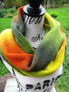 knit scarf autumn, Kauni yarn handmade shawl , knitted stylish triangular scarf shawl of high quality rainbow wool Artistic. boho