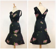 Vintage '50s bombshell black floral print cha cha mermaid cocktail wiggle dress…