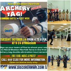 Don't forget to join Liberty at for some Archery Tag Fun this evening Enjoy music, food and the chance to be Naval Station Norfolk's first Archery Tag Champions! Call for more information. Naval Station Norfolk, Archery Tag, Battle Fleet, Fleet Week, Don't Forget, Liberty, Join, Music, Musica
