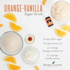 Chemical-Free Living DIY Scrub with Young Living essential oils<br> Carcinogenic chemicals are in many of the products we use every day. What can you do to decrease your exposure? Vanilla Essential Oil, Yl Essential Oils, Orange Essential Oil, Young Living Essential Oils, Essential Oil Blends, Diy Gifts With Essential Oils, Sugar Scrub Recipe, Sugar Scrub Diy, Sugar Scrubs