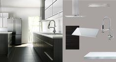 Ikea kitchen - minimalist cabinetry.  Gnosjo door, Blankett handle, numerar countertop