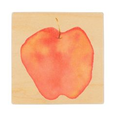 Wood Coasters (Water Color Apple Design)