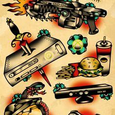 X box 360 tattoo flash set Art Print