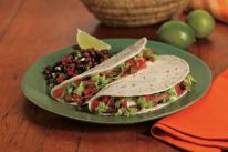 "Beef ""LT"" Tacos Recipe Main Dishes with Mission® White Corn Tortillas, Mission® Guacamole Flavored Dip, grilled steak, small tomatoes, iceberg lettuce Corn Tortilla Recipes, Mexican Tacos, Small Tomatoes, Corn Tortillas, Yummy Snacks, Gluten Free Recipes, Main Dishes, Tasty, Beef"