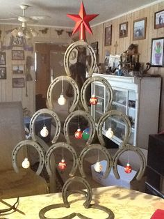 Horse Shoe Christmas Tree- Christmas Decoration by SmokinSpursCreations on Etsy